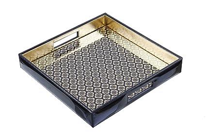 sammsara Jaisalmer cuadrado negro y oro patrón cristal impreso leatherite bandeja con asas. Hecho a