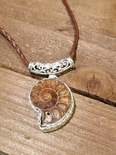 Amazon fossil ammonite pendant braided leather necklace fossil ammonite pendant braided leather necklace primitive ocean shell jewelry hippie boho handmade n23 aloadofball Images