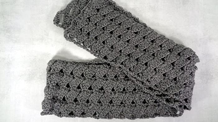 Amazon Grey Heather Extra Long Fall Winter Boho Scallop Scarf