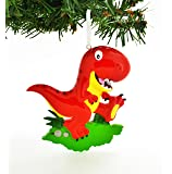 PERSONALIZED CHRISTMAS ORNAMENT RED T-REX TRYANNOSAURUS REX DINOSAUR