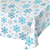 """Creative Converting 317151 All Over Print Plastic Table cover, 54 x 102"""", Snowflake Swirls"""