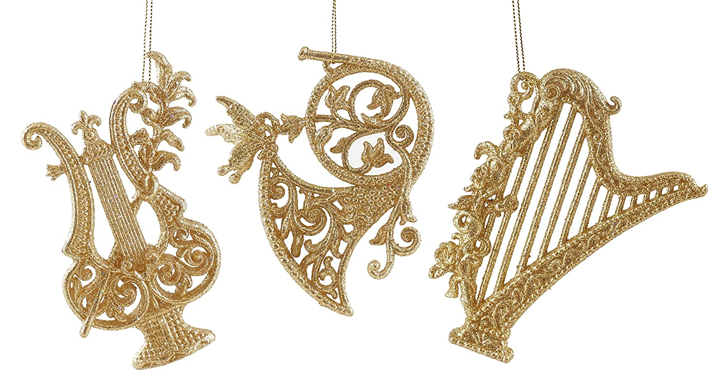 Elegant Musical Instruments Hanging Christmas Ornament Set