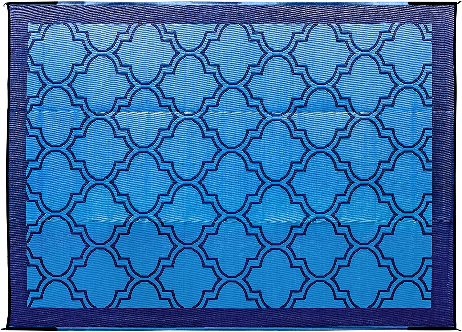 Amazon Com Camco Large Reversible Outdoor Patio Mat Mold And Mildew Resistant Easy To Clean Perfect For Picnics Cookouts Camping And The Beach 9 X 12 Lattice Blue Design 42856 Automotive