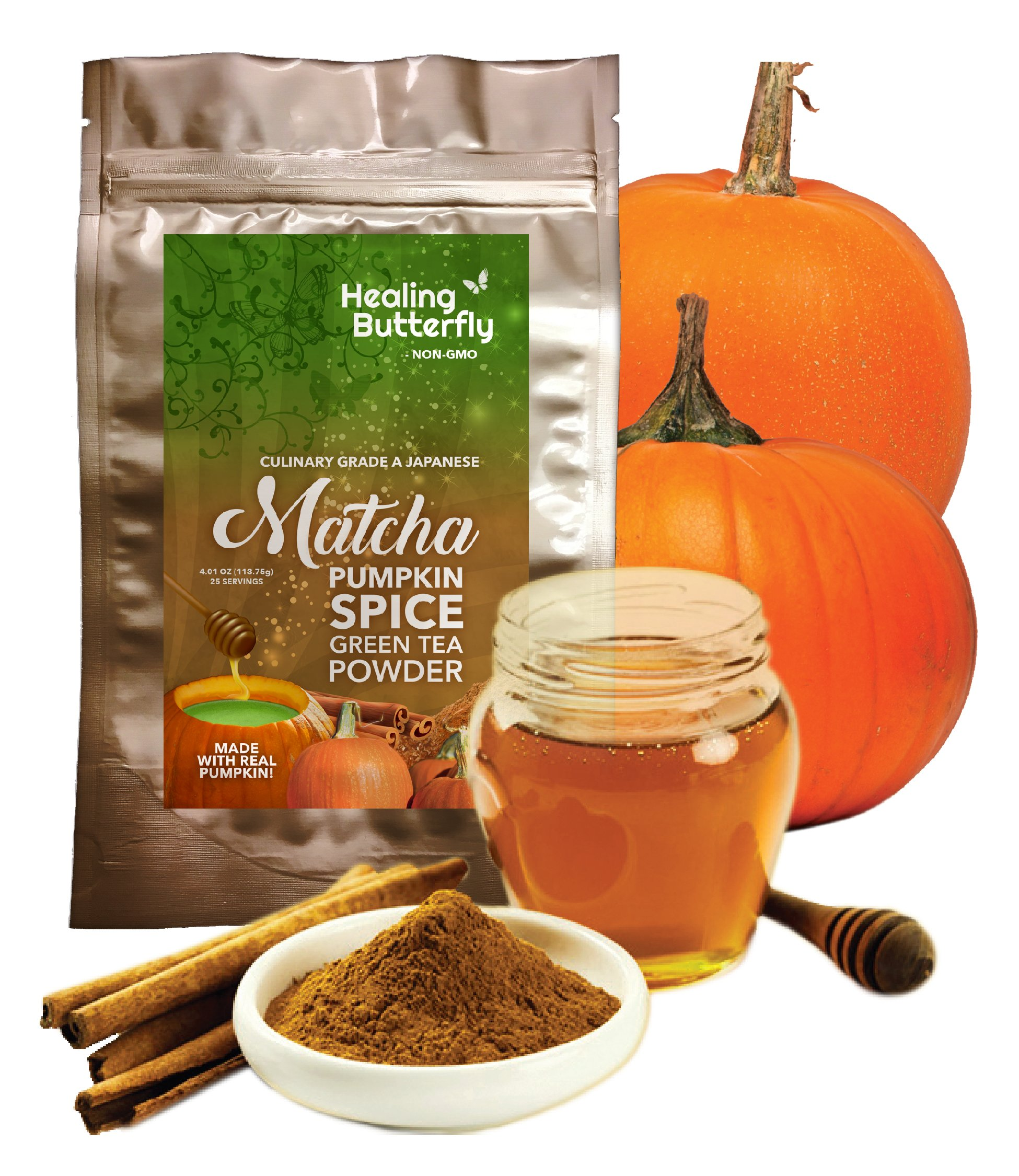 Pumpkin Spice Matcha Green Tea Powder, Organic Japanese Premium Grade, Packed with Nutrients and Antioxidants, Boosts Your Metabolism And Tastes Great, [113.75g, 4.01oz, 25 Servings] by Healing Butterfly