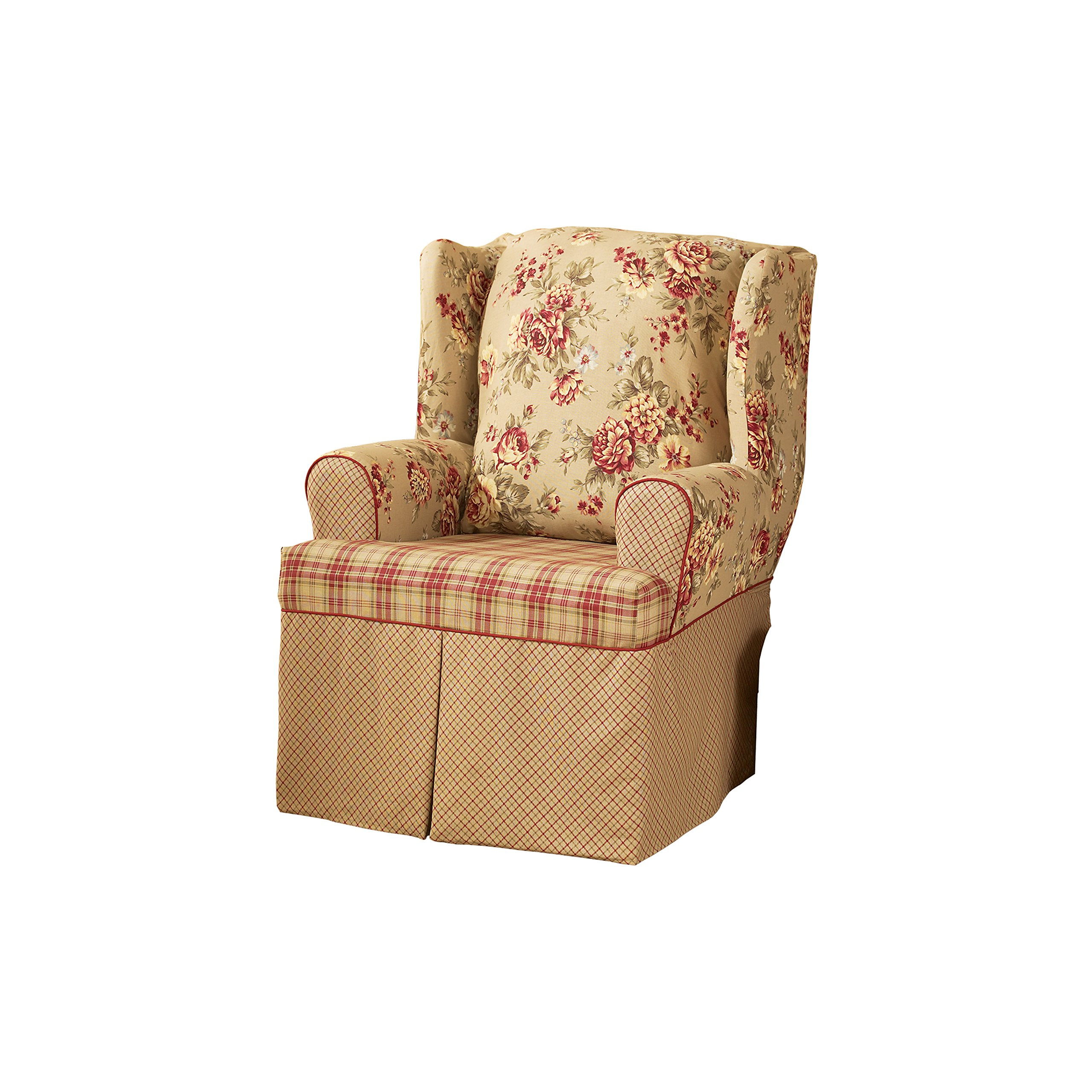 Sure Fit SF29848 Lexington Relaxed Fit 1 Piece Wing Chair Slipcover, Multi