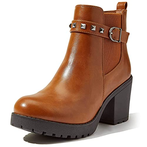 DailyShoes Ankle Boots for Women Chunky Womens Chunky Elastic Chelsea Platform Bootie