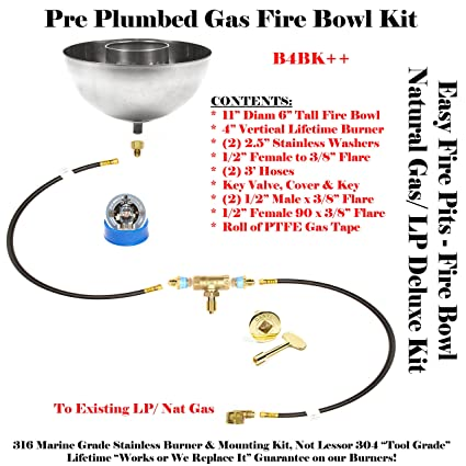 Amazon Com B4bk Diy 11 Fire Bowl Deluxe Kit W Key Valve