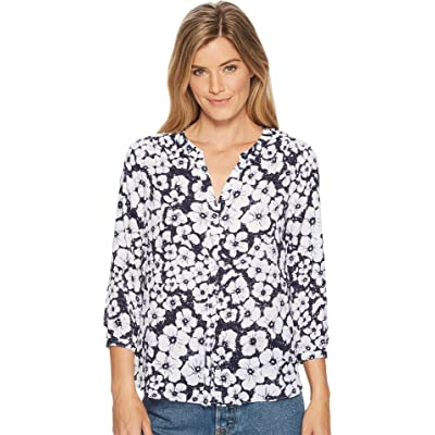 NYDJ Women's Pintuck Blouse, Etched Flowers Peacoat, L