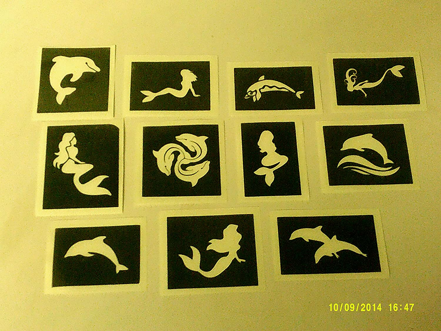 10 x Dolphin & Mermaid stencils for etching on glass (mixed) Dazzle Glitter Tattoos