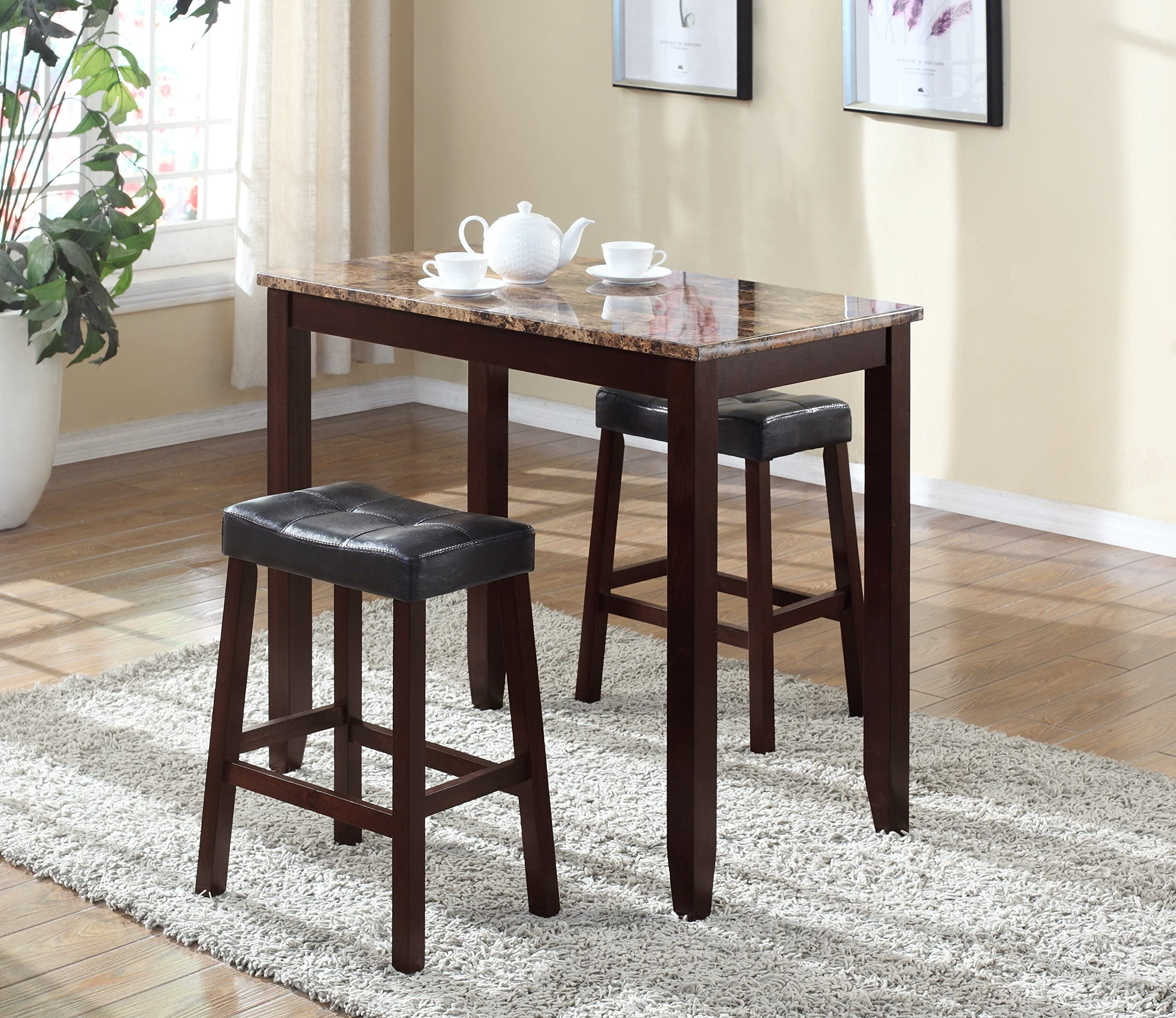 Roundhill Furniture 3-Piece Counter Height Glossy Print Marble Breakfast Table with Stools  sc 1 st  Amazon.com & Table \u0026 Chair Sets | Amazon.com