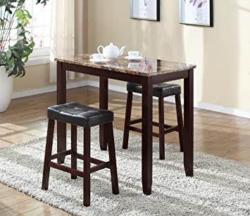 Roundhill Furniture 3 Piece Counter Height Glossy Print Marble Breakfast  Table With Stools