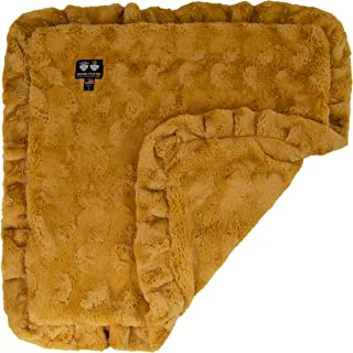 "product image for BESSIE AND BARNIE Honeymoon (Ruffles) Luxury Ultra Plush Faux Fur Pet, Dog, Cat, Puppy Super Soft Reversible Blanket (Multiple Sizes), SM - 24"" x 24"""
