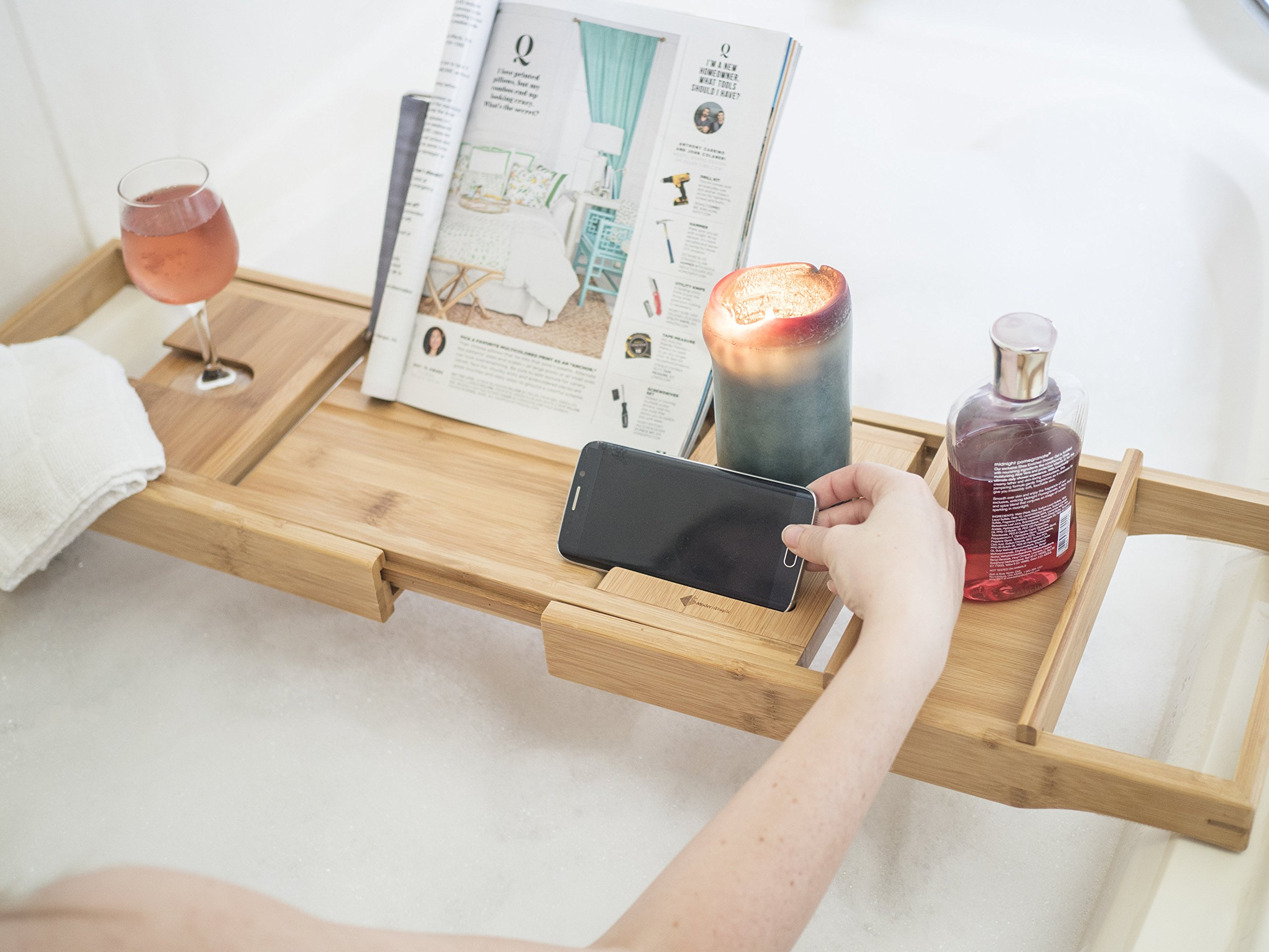ModernTropic Home and Spa Bamboo Bathtub Caddy and Tray Expandable Non-Slip Wooden Bath Tray Securely Holds Drinks, Book/Tablet, Accessories, Phone by ModernTropic (Image #2)