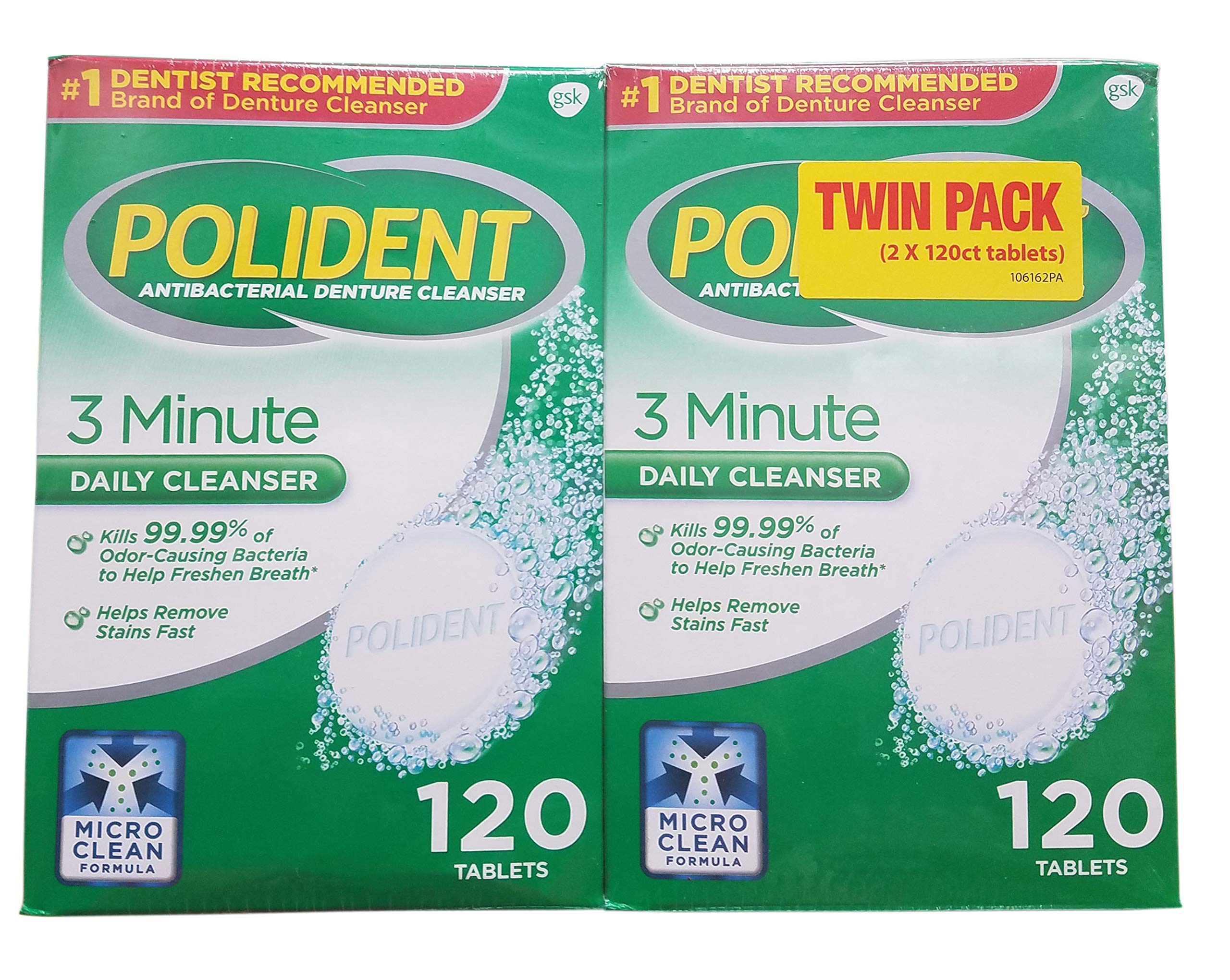 Polident Antibac Denture Cleaner (2 Pack /120 Count), 120 Count