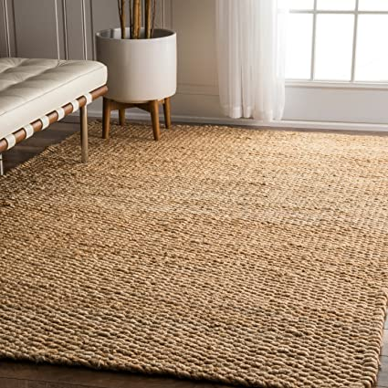 NuLOOM Natura Collection Hailey Jute Natural Fibers Solid And Striped Hand  Made Area Rug, 8