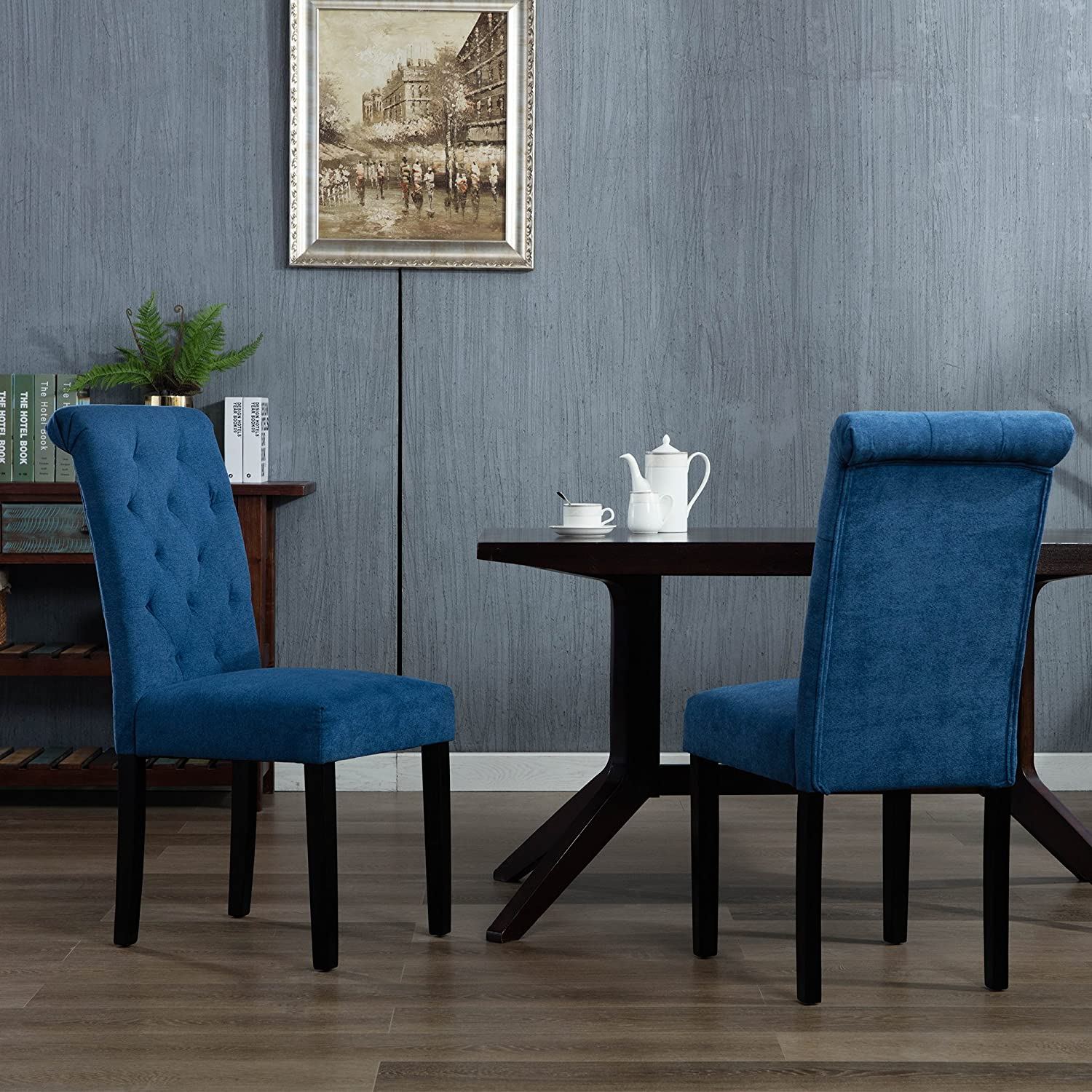 Amazon com dagonhil stylish parsons dining room chairs set of 2with solid wood legs blue chairs