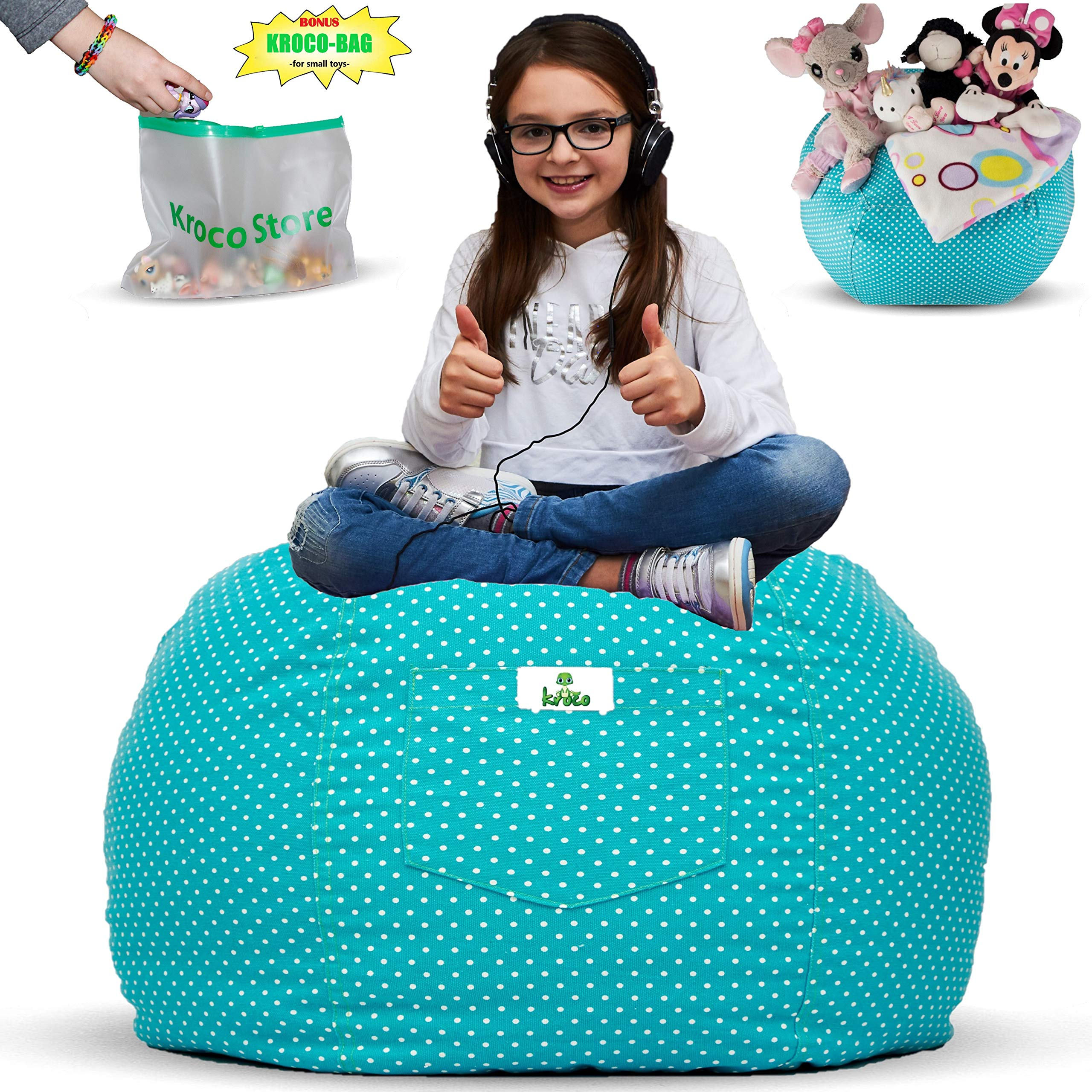 Kroco Stuffed Animal Storage Bean Bag Chair for Kids Room | Stuffie Toy Storage Beanbag Covers for Girls & Boys | Stuff Toys Organizer Seat Holder | Original Bag Extra Large - 38'' Teal by Kroco