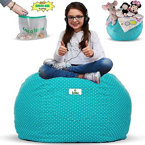 Amazon.com  Kroco Stuffed Animal Storage Bean Bag Chair for Kids ... 5a0ca9da8da9d