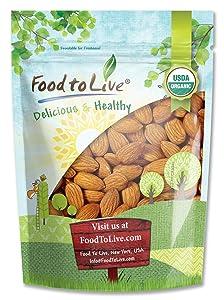 Raw Organic Almonds, 1 Pound - Bulk, Non-GMO, No Shell, Whole, Unpasteurized, Unsalted, Kosher