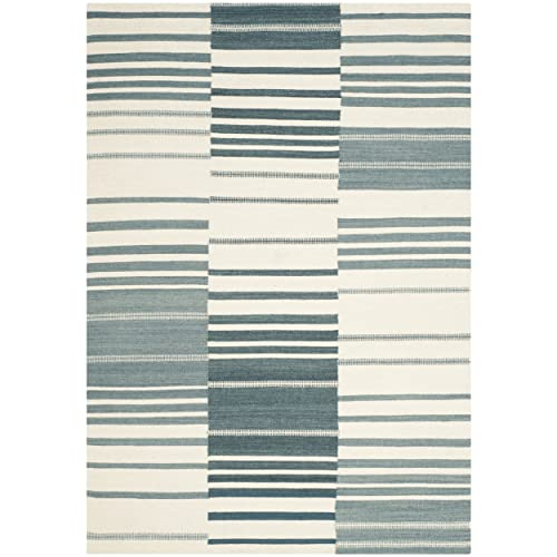 Safavieh Kilim Collection KLM953A Hand Woven Blue and Ivory Premium Wool Area Rug 5 x 8