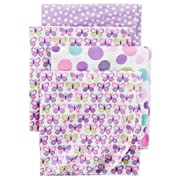 Carter's Baby Girls 4 Pack Flannel Receiving Blanket, Purple Butterfly, One Size