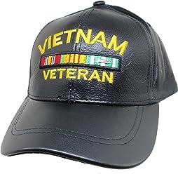 0fcf3af973677 K S Unique Vietnam Veteran Ribbons Leather Mens Cap  Black - Adjustable