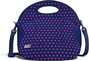 Built NY Spicy Relish Neoprene Lunch Bag with Adjustable Crossbody Strap, 1 EA, Mini Dot Navy