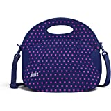BUILT NY Spicy Relish Neoprene Lunch Bag with Adjustable Crossbody Strap, Mini Dot Navy