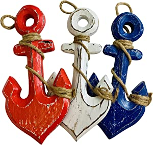 Anchor Christmas Ornaments Patriotic Red and Blue Large Wooden Nautical Christmas Decor, Set of 3