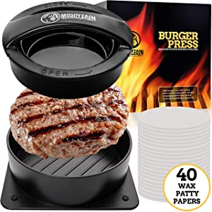 Stuffed Burger Press Patty Maker - Non Stick Hamburger Mold Kit for Easily Making Delicious Stuffed Burgers, Regular Beef Burger and Perfect Shaped Patties - Bonus 40 Wax Papers