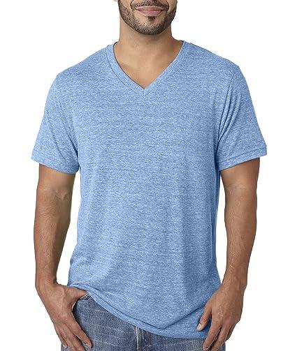 Bella 3415 Unisex Triblend Short Sleeve V-Neck Tee - Blue Triblend,
