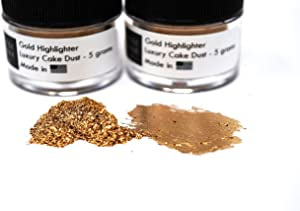 Luxe Cake (2 pack) Gold Highlighter Luxury Cake Dust, 10 grams total, USA Made