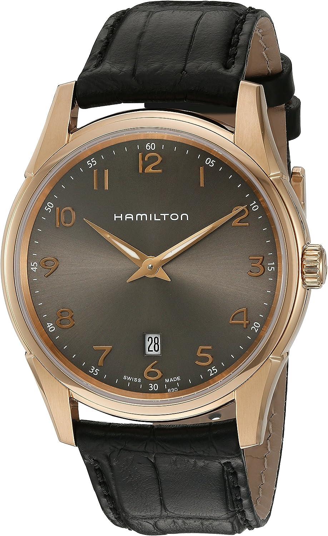Hamilton Jazzmaster Reloj automático de Piel Swiss Quartz Oro y de los Hombres de, Color: Negro (Modelo: h38541783)