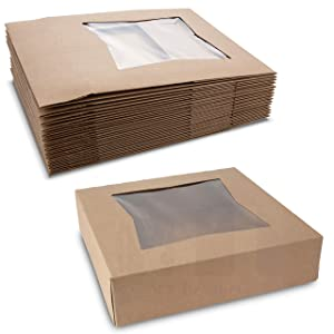 Beautiful Brown Kraft Colored Paperboard Pastry Bakery Box - Keep Donuts, Muffins, Cookies Safe - Unique Auto-Pop Up Feature & Clear Window for Visibility 10