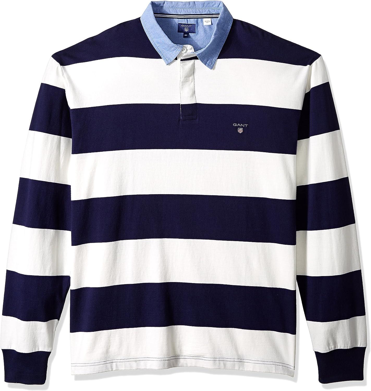 Gant Herren Kapuzenpullover Pullover gestreift Bar Stripe Heavy Rugger Hoodie