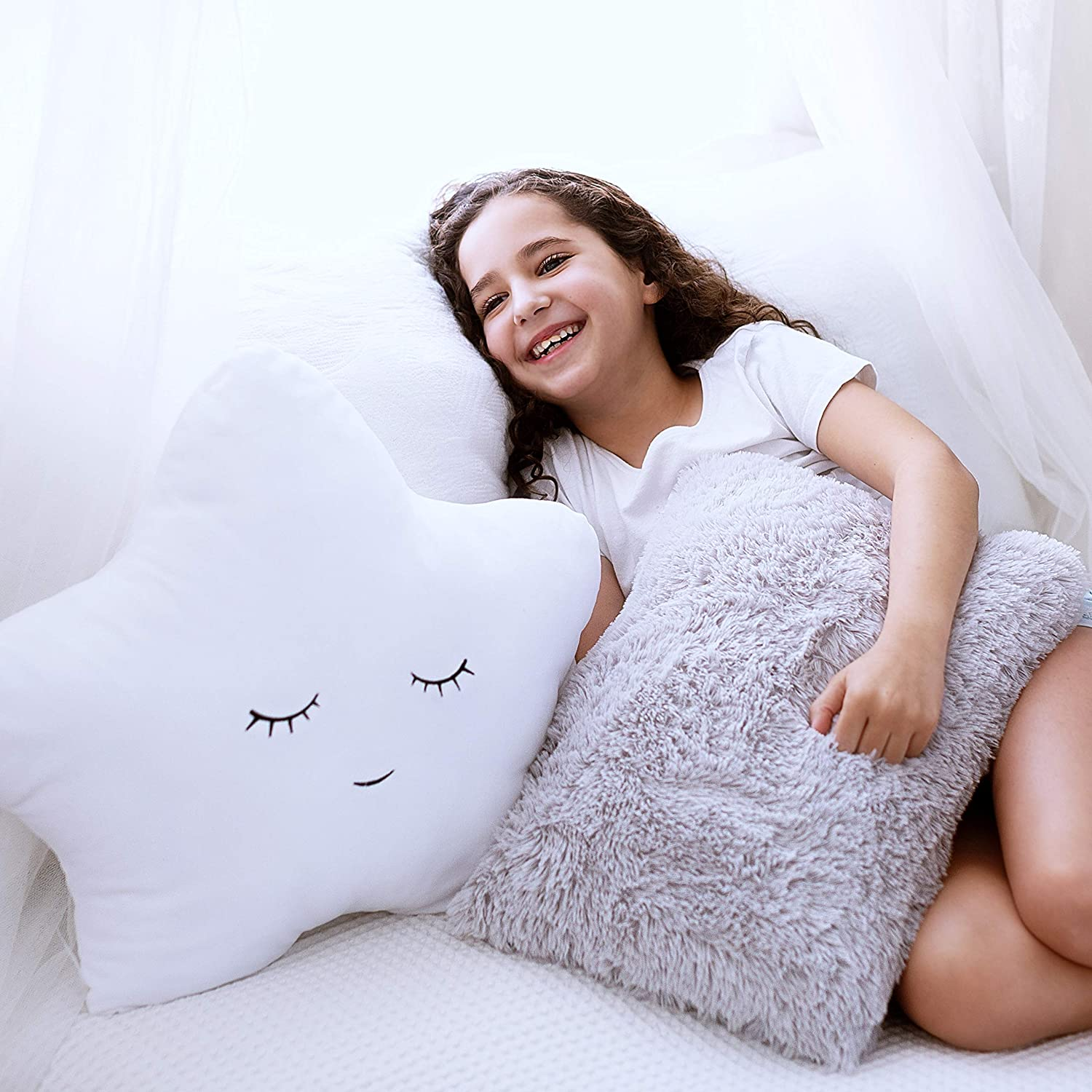 Set of 2 Decorative Pillows for Girls Boys, Toddler Kids Room. Star Pillow Fluffy White Embroidered and Furry Grey Faux Fur Pillow. Soft Plush Girls Pillows, Throw Pillows for Kid's, Teens Bedroom