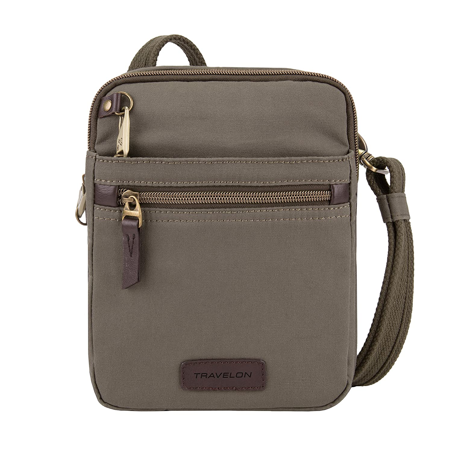 Travelon Anti-Theft Courier Small N s Slim Travel Bag – Stone Gray