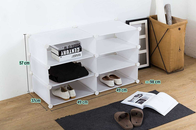 White 2x2-tier /6/ripiani Inxact scarpiera salvaspazio DIY 3/ bianco