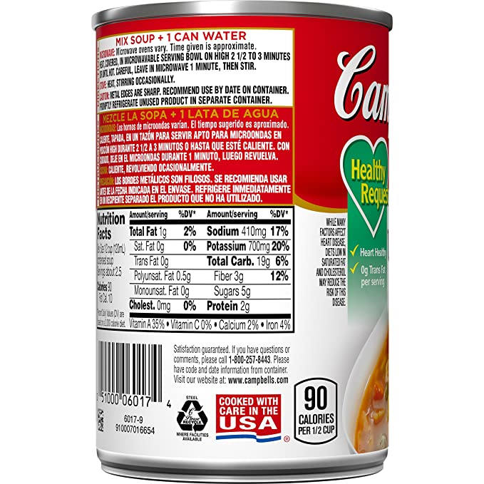 Campbells Condensed Healthy Request Vegetable Soup, 10.5 oz. Can (Pack of 12)
