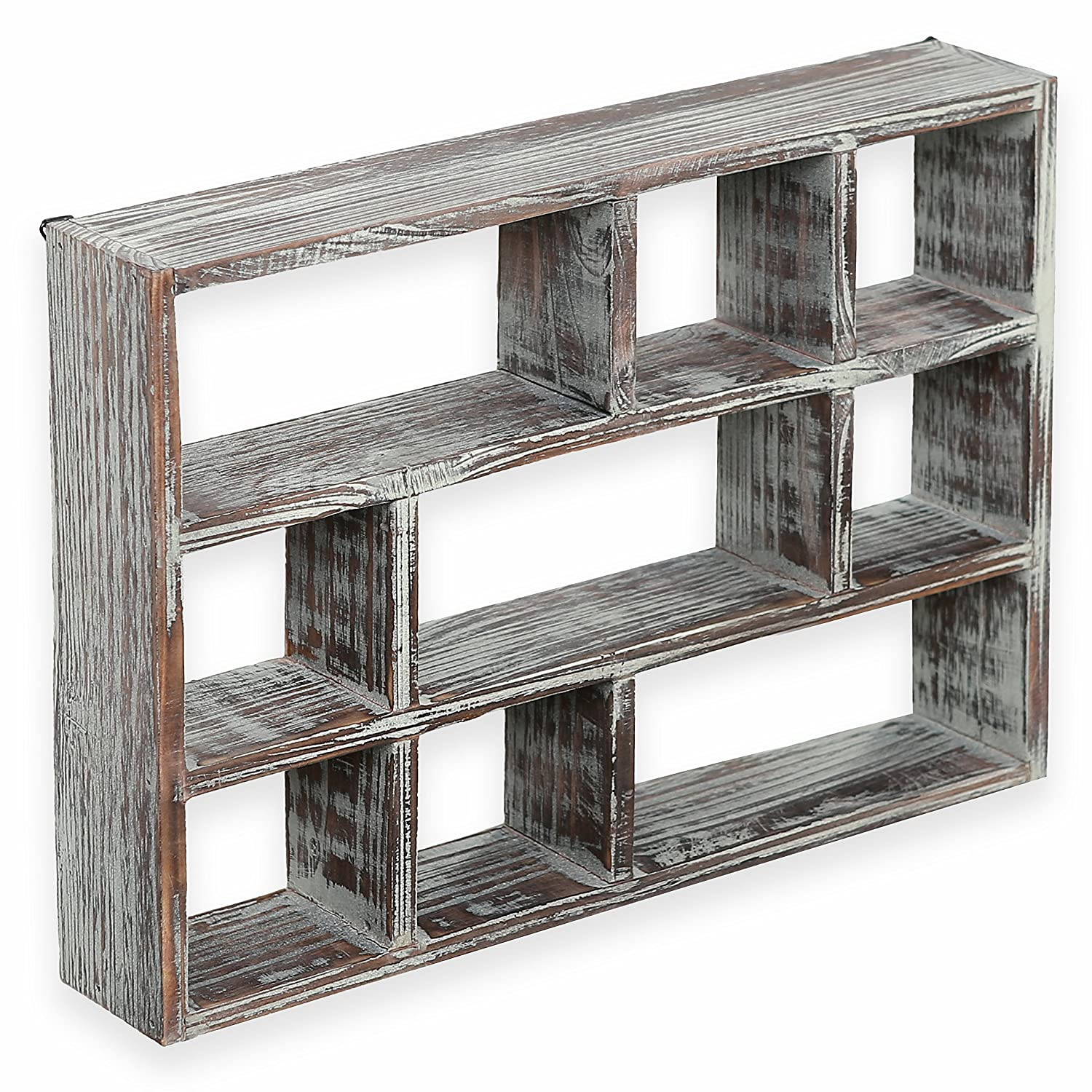 Picture frames amazon 15 inch 9 compartment rustic wooden freestanding wall mountable shadow box display shelf jeuxipadfo Images