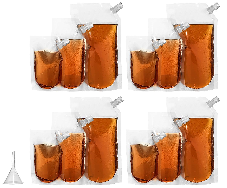 [宅送] Concealable, Collapsible Cruise Liquor Bags (Set Of 12) With Anywhere| oz. Flask Funnel | 3 Sizes-32 oz., 16 oz., 8 oz. | Undetectable, Unmarked Flask For Sneaking Booze Anywhere| Vacations, Concerts, Camping & More by Home Team Products 12 Pack B01D2HTVU2, ヒルズファーム:064db984 --- vezam.lt
