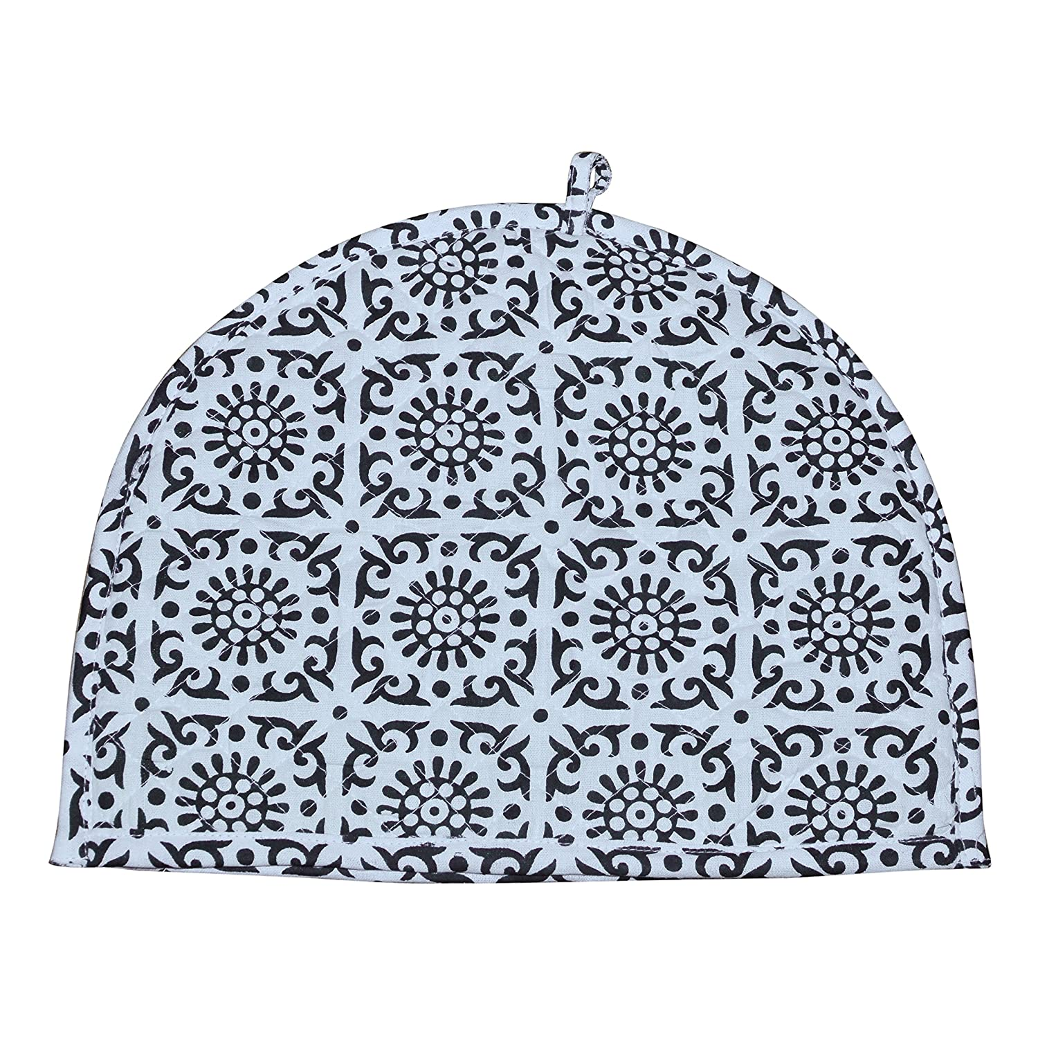 Indian Cotton Printed Tea Cozy Abstract TeaPot Décor Cover Traditional Tea Quilt Floral Warmer Home Decorative Tea Cozies Insulated Gift Ethnic Hand Block Printed Black and White Tea cozy For Teapot Marudhara Fashion TEA00001