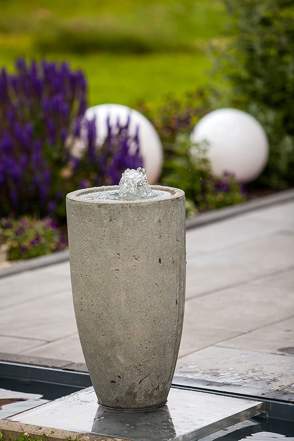 Heissner Terrassenbrunnen-Set Villa Fontania Fountain Vase grey LED