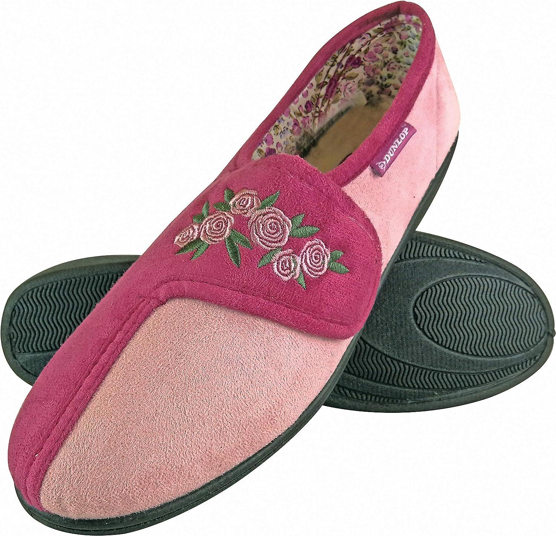 Dunlop - Womens Memory Foam Adjustable Velcro Strap Slippers for Swollen Feet