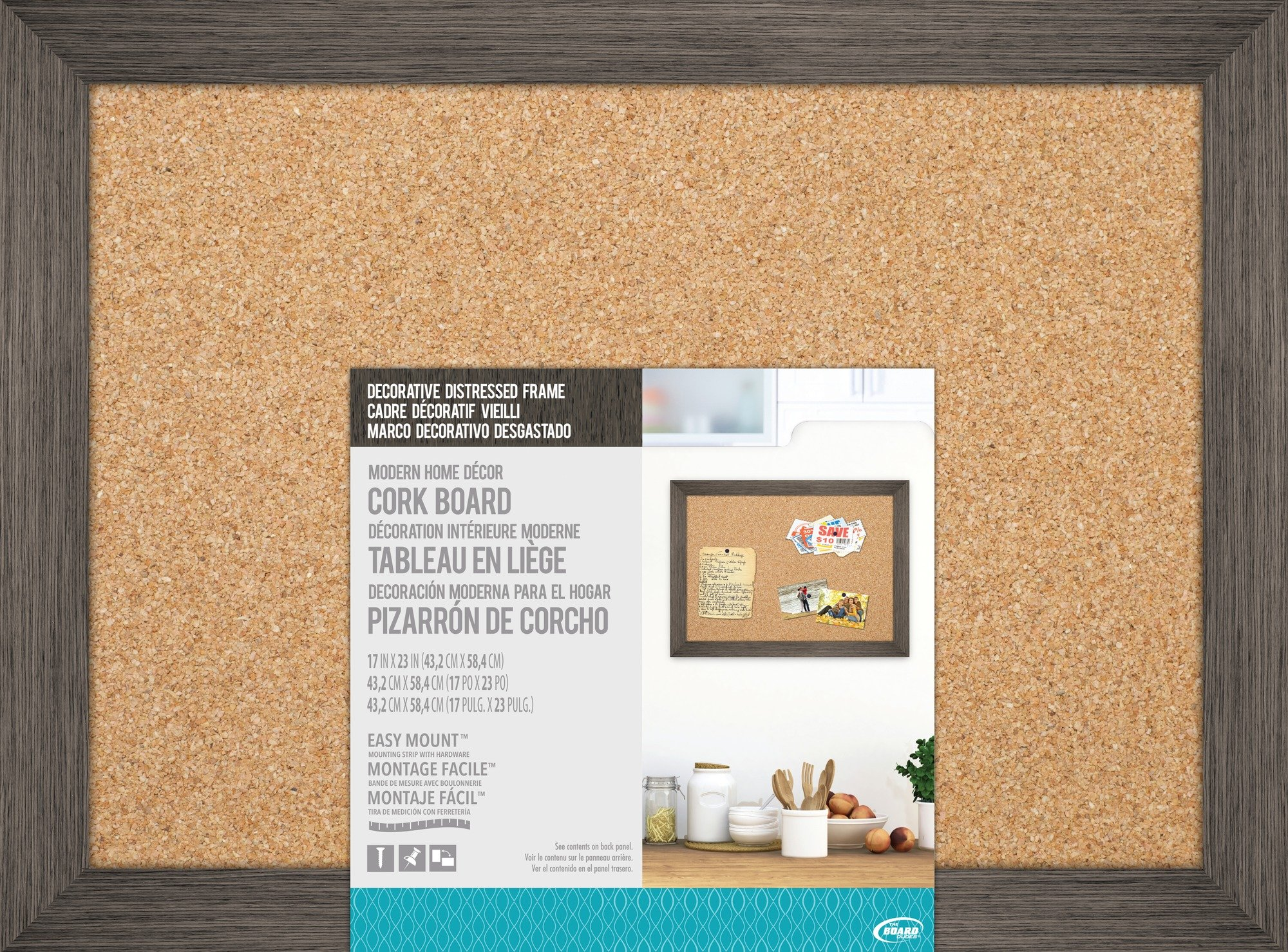 The Board Dudes 17″ X 23″ Cork Board with Decorative Distressed Wood Frame