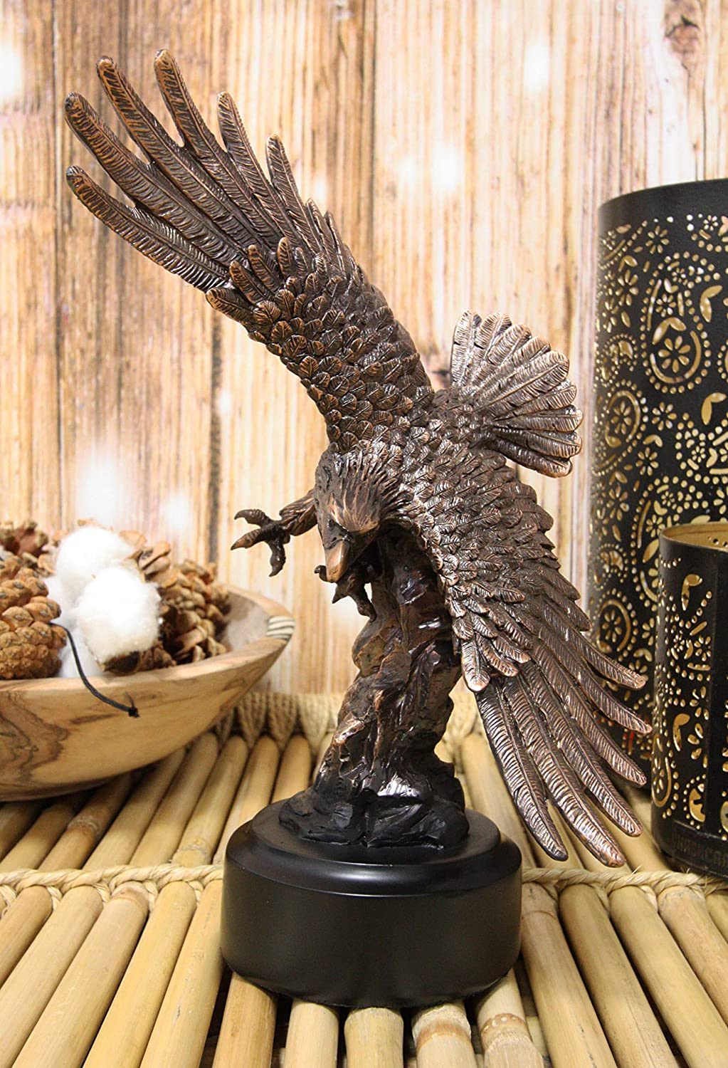 """Ebros 9.25"""" Tall Wings of Glory Swooping Broad Winged Bald Eagle by Cliff Rocks Statue Bronze Electroplated Resin Figurine with Base USA Patriotic Home and Office Decor Flying Wild Life Eagles"""