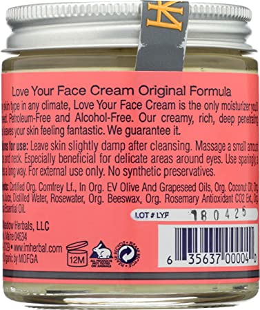 Indian Meadow Herbals, Cream Love Your Face, 4 Ounce