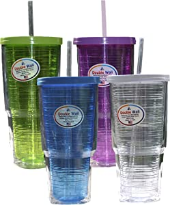 Arrow Home Products 00015 Double Wall Drink Tumbler with Clear Straw and Lid, Single Assorted Cup, Pack of 1, 24 oz