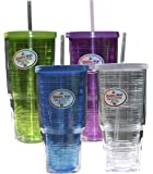 Arrow Home Products 00015 01504 Double Wall Drink Tumbler with Clear Straw and Lid, Single Assorted Cup, Pack of 1, 24 oz,