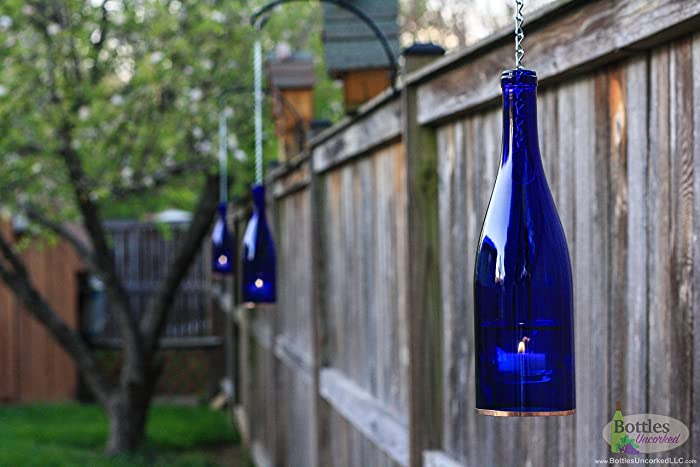 Amazon.com: Four Cobalt Blue Hanging Lanterns - Indoor Lighting ...